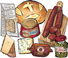4 Cured Meats & Cheeses Party Spread Customizable Gift Box
